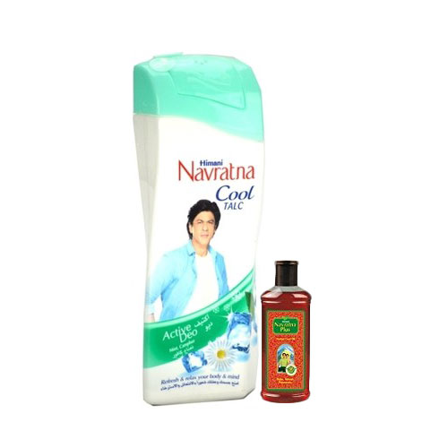 Navratna Cool Talc Active Deo-400g + Free Navratna oil 50ml