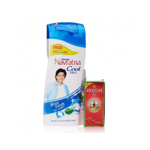 Navratna Cool Talc Mint Fresh-400g +Free Navratna Oil 50ml