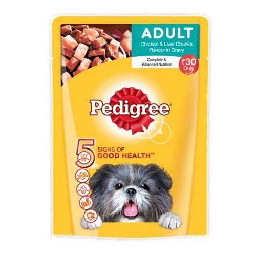 Pedigree Adult Dog Food Chicken & Liver Chunks In Gravy