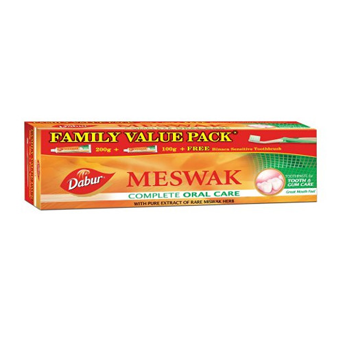 Dabur Meswak Tooth Paste-300g (Family Pack) with Tooth Brush