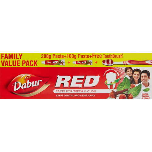 Dabur Red Tooth Paste Value Pack -200g+100g+Free Tooth Brush