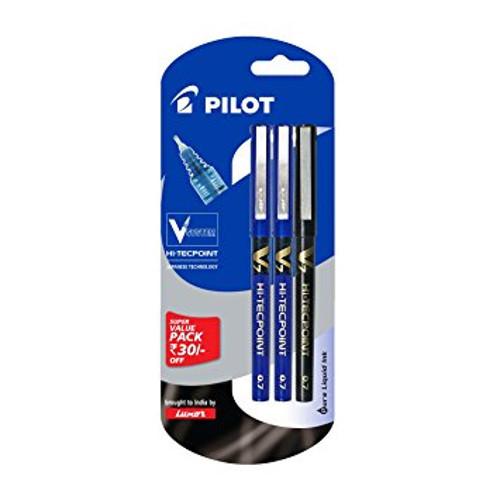 Pilot V7 Liquid Ink Roller Ball Pen - (2 Blue and 1 Black)