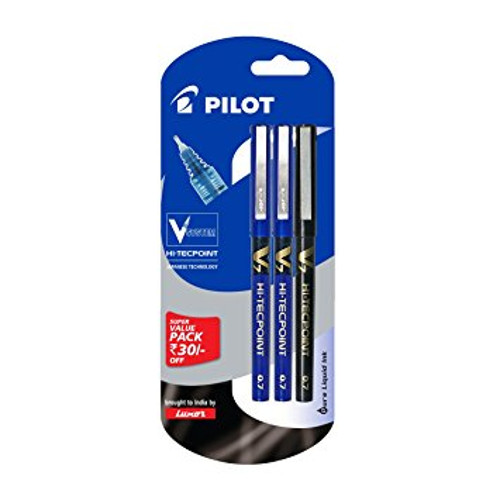 Pilot V7 Liquid Ink Roller Ball Pen - (2 Blue and 1 Black)