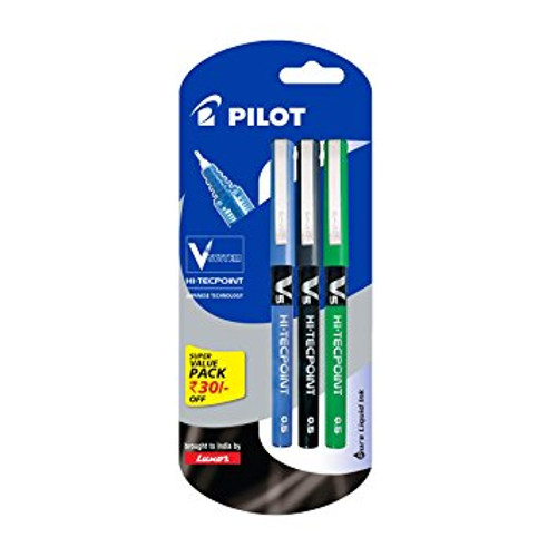 Pilot V5 Liquid Ink Roller Ball Pen - (1Blue+1Black+1Green)