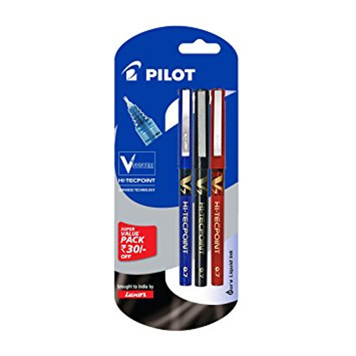 Pilot V5 Liquid Ink Roller Ball Pen - (1Blue+1Black+1Red)