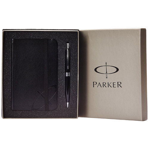 Parker Aster Laque Black Chrome Ball Pen + Parker Notebook