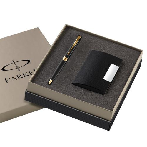 Parker Aster Laque Gold Trim Ball Pen (Black) + Card Holder