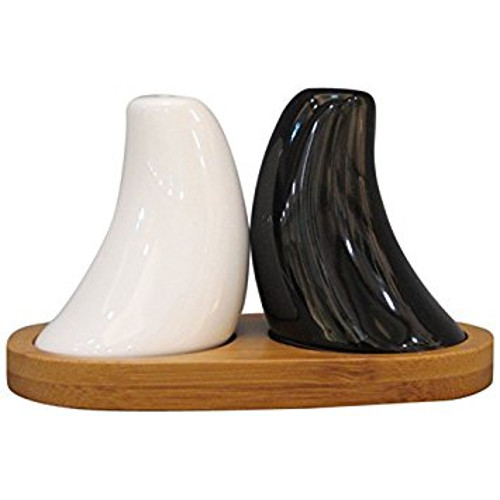 EON Salt and Pepper Set with Wooden Stand - 3-Piece