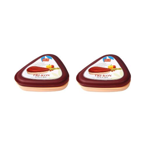 Ruchi Tri-Kon Lunch Box - Set of 2 - Maroon)